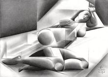 Roundism – 12-06-18, Drawings / Sketch, Abstract,Cubism,Fine Art,Realism,Surrealism, Anatomy,Composition,Erotic,Figurative,Inspirational,Nudes,People, Pencil, By Corne Akkers
