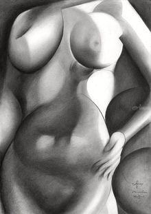 Roundism – 30-05-18, Drawings / Sketch, Cubism, Anatomy,Composition,Erotic,Figurative,Inspirational,Nudes,People, Pencil, By Corne Akkers