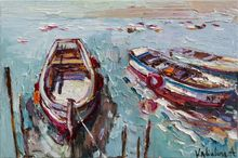 Rowing boats - Original oil seascape painting, Paintings, Impressionism, Landscape,Seascape, Canvas,Oil, By Anastasiya Valiulina