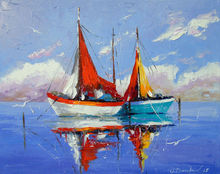 Sailboats anchored, Paintings, Impressionism, Land Art, Landscape, Nature, Canvas, Oil, Painting, By Olha   Darchuk