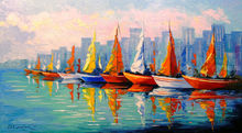 Sailboats in the Bay, Paintings, Impressionism, Architecture, Botanical, Landscape, Canvas, Oil, Painting, By Olha   Darchuk