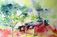 Shed, Paintings, Surrealism, Nature, Watercolor, By Lora Roberts