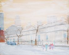 Snowy Afternoon in New York City, Paintings, Romanticism, Cityscape, Painting, By MJ Hoehn