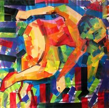 Some_Body_Soul, Paintings, Cubism,Expressionism,Pop Art, Figurative, Canvas,Oil,Spray Paint,Wood, By Piotr Kachny