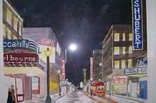 St Louis Theatre District Grand & Lindell 1940'ies, Paintings, Realism, Historical, Watercolor, By Lora Roberts