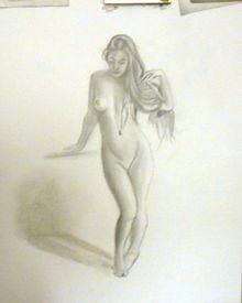 Standing Nude 2, Drawings / Sketch, Realism, Figurative,Nudes, Pencil, By CHARLES PINKARD SR