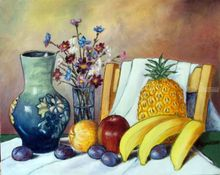STILL LIFE WITH FRUIT, Paintings, Realism, Still Life, Oil, By Zenon Rozycki