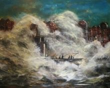 Stormy fishing, Functional Art,Paintings, Abstract,Expressionism,Impressionism, Cityscape,Composition,Seascape, Acrylic,Canvas, By David Iddon