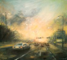 Stormy way home, Paintings, Fine Art,Impressionism, Cityscape, Oil,Wood, By Angela Suto