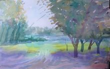 Summer, Illustration, Paintings, Expressionism, Nature, Watercolor, By Roman Sergienko