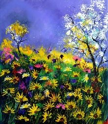 summer daisies, Paintings, Impressionism, Floral,Landscape, Canvas, By Pol Ledent