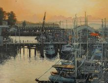 Sunset at the Pier, Paintings, Impressionism, Landscape, Canvas, By Mason Kang