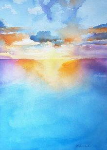 Sunset on the sea, Paintings, Fine Art,Photorealism,Realism, Figurative,Inspirational,Landscape,Seascape,Window on the World, Watercolor, By Francesca Licchelli