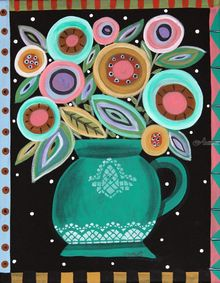 Teal Pot, Folk Art, Primitive, Floral, Acrylic, By KARLA GERARD