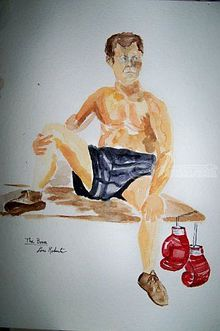 The Boxer, Paintings, Realism, Anatomy, Watercolor, By Lora Roberts