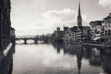The Limmat II, Architecture, Photography, Photorealism, Architecture, Cityscape, Historical, Photography: Metal Print, Photography: Photographic Print, Photography: Premium Print, Photography: Stretched Canvas Print, By Ira Silence