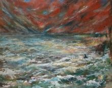 The lonely swim, Functional Art,Paintings, Abstract,Expressionism, Landscape,Seascape, Acrylic,Canvas, By David Iddon