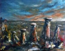 The Meerkats of Cappadocia, Functional Art,Paintings, Abstract,Expressionism,Impressionism, Landscape,Wildlife, Acrylic,Canvas,Charcoal, By David Iddon