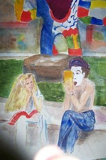 The Mime, Paintings, Realism, Children, Watercolor, By Lora Roberts