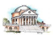 The Rotunda At UVA, Paintings, Impressionism, Architecture, Ink, Watercolor, By Robert Holewinski