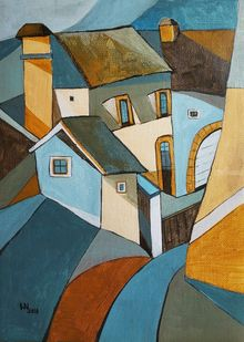 The steep street, Paintings, Abstract, Cubism, Fauvism, Impressionism, Architecture, Cityscape, Acrylic, By Aniko Hencz