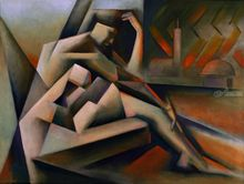 The Widow of Aleppo (2019), Paintings, Abstract, Cubism, Expressionism, Fine Art, Anatomy, Architecture, Composition, Figurative, Inspirational, Nudes, People, Painting, By Corne Akkers