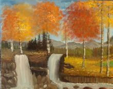 Twin Falls, Land Art,Paintings, Fine Art, Landscape, Canvas,Oil,Painting, By Lana Fultz