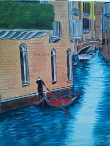 Venice Scene, Paintings, Expressionism,Realism,Romanticism, Architecture, Canvas,Oil, By supreet gujral