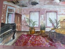 Victorian Parlor, Paintings, Romanticism, Historical, Watercolor, By Lora Roberts