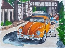 VW Love, Illustration, Pop Art, People, Acrylic,Canvas,Painting, By Jennifer CamposWelch