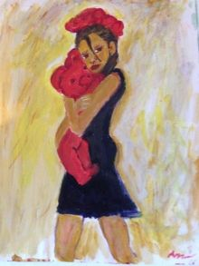 Walking With Ted, Paintings, Expressionism, People, Acrylic, By Anna Angelou