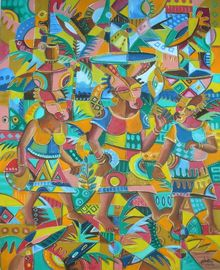 Water is Life. Original painting from Cameroon, Africa, Paintings, Abstract, Cubism, Multicultural / Ethnic, People, Tropical, Oil, By Angu Walters Che