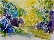 watercolor 412051, Paintings, Expressionism, Landscape, Watercolor, By Pol Ledent
