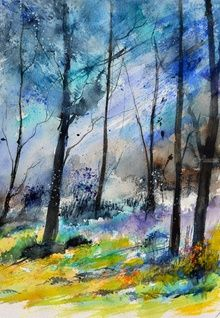 watercolor 5160762, Paintings, Impressionism, Decorative,Landscape, Canvas, By Pol Ledent