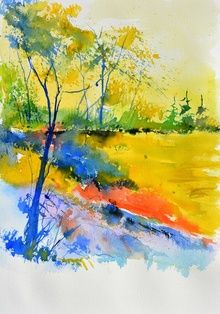 watercolor 516082, Paintings, Impressionism, Landscape, Watercolor, By Pol Ledent