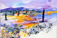 watercolor 517040, Paintings, Impressionism, Botanical,Landscape, Watercolor, By Pol Ledent