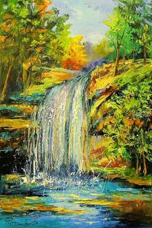 Waterfall in the forest, Paintings, Impressionism, Botanical,Land Art,Landscape,Nature, Canvas,Oil,Painting, By Olha   Darchuk