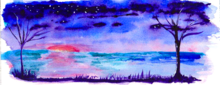 Whimsical Lanscape, Paintings, Fine Art, Landscape, Watercolor, By Shaunna Perkins