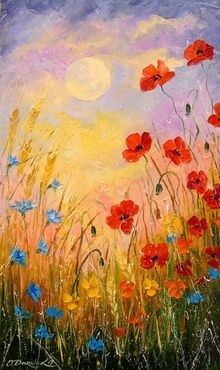 Wild flowers in the moonlight, Paintings, Impressionism, Botanical,Nature, Canvas,Oil,Painting, By Olha   Darchuk