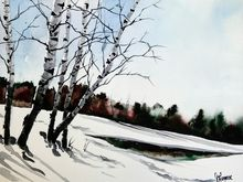Winter Birches, Paintings, Fine Art, Landscape, Watercolor, By james lagasse