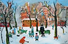 Winter Scene, Architecture,Paintings, Expressionism, Architecture,Children,Cityscape,Daily Life,Landscape,People, Acrylic,Mixed, By James Kennedy