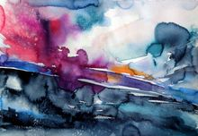Wintertime landscape II, Paintings, Expressionism, Impressionism, Minimalism, Landscape, Watercolor, By Kovacs Anna Brigitta