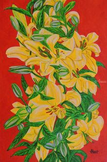 Yellow Flowers, Paintings, Expressionism, Floral, Canvas, By Ajay Harit