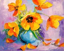 Yellow tulips, Paintings, Impressionism, Botanical,Floral,Nature, Canvas,Oil,Painting, By Olha   Darchuk
