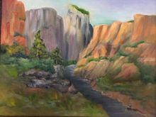 Zion Canyon, Paintings, Realism, Landscape, Oil, By Sherry Robinson