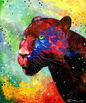 Panther, Paintings, Fine Art, Impressionism, Animals, Nature, Canvas, Oil, Painting, By Olha   Vyacheslavovna Darchuk