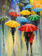 Rain, Paintings, Impressionism, Figurative, Nature, People, Canvas, Oil, Painting, By Olha   Vyacheslavovna Darchuk