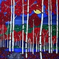 Red Trees, Paintings, Abstract,Expressionism,Fine Art, Landscape, Acrylic, By Rachel Olynuk