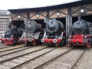 Old steam trains in depot 08496